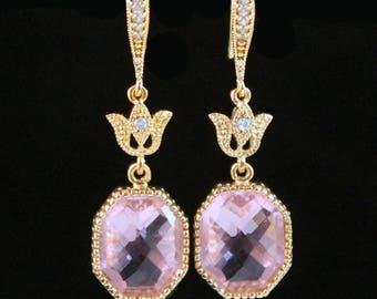 Pastel Pink Crystal Octagons Framed in Gold  Hanging From Gold Tulips and CZ Detailed French Earrings