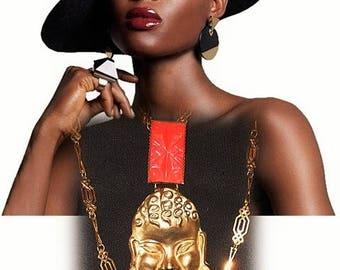 Africanist necklace, XXL, art deco necklace - FLAMBOYANTE AFRICA necklace