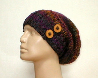 Cable slouchy hat, green teal magenta purple navy blue topaz, striped hat, knit hat, toque, cable hat, slouchy hat, chemo cap, womens hat