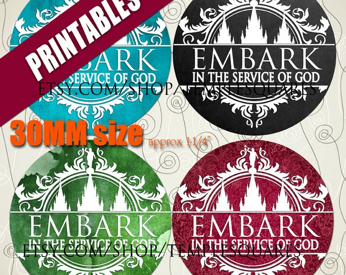 "Printable Digital Files. Variety of designs on 30mm approx 1 1/4"" circles LDS Mutual YW Young Women 2015 Theme Embark in the Service of God"