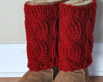 BOOT CUFFS Tops Muffs Socks UGGs  Cranberry Red Berry Leg Warmers Cabled Cozy Knit Gift under 50