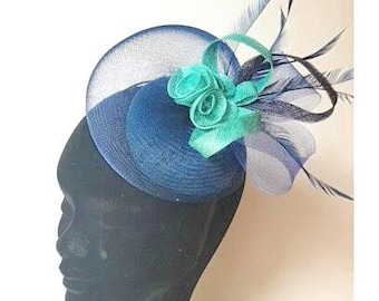 Green and blue feather fascinator