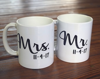 Personalized Mr. and Mrs. Coffee Mug Set with date, bride to be mug, bachelorette party, engagement gift, bride gifts, bridal shower gifts