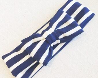Navy + white Stripe bow band