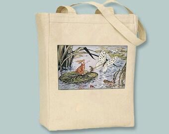 VintageThumbelina illustration on Canvas Natural or Black Tote with shoulder strap  - Selection of sizes available