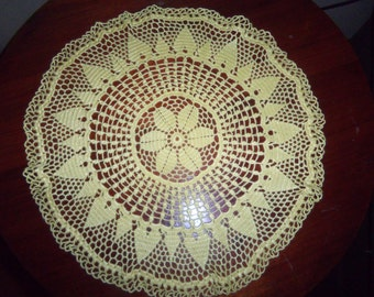 Crochet Round Yellow Doily flower and Sun Design
