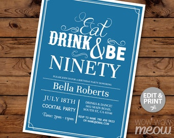 90th invitation etsy 90th invitations eat drink and be ninety 90 birthday invite party blue instant download surprise filmwisefo Choice Image