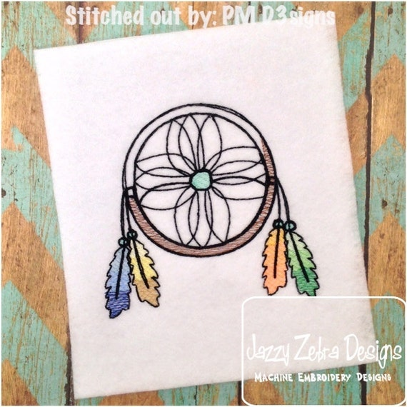 Dream Catcher Sketch Embroidery Design with Ombre Feathers - indian Sketch Embroidery Design - dreamcatcher Sketch Embroidery Design