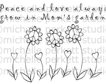 Digital Stamp Image Mom Flowers Peace Love Cute Stamping Cardmaking Scrapbooking