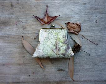 Forest floor purse, large woodland clutch, 8 inch frame clutch, leaf clutch, nature purse, fall autumn purse, botanical handbag