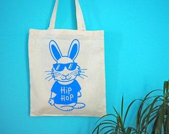 HIP HOP Bunny Tote Bag, Rabbit Tote Bag, Funny Pun Tote Bag, Hip Hop Music Tote Bag, Cute Animal Tote Bag, Screenprinted Tote, Blue Tote