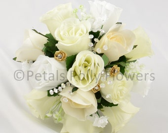 Artificial Wedding Flowers, Ivory, White & Gold Bridesmaids Bouquet Posy