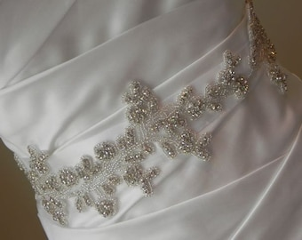 Rhinestone Vine Bridal Sash - Wedding Dress Belt