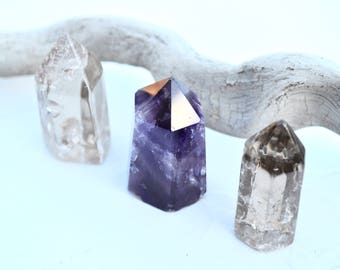 Healing Crystal Set //  Amethyst Obelisk, Smokey Quartz Points // Reiki Meditation Energy Work Chakra Balance Therapy Balance Ceremony