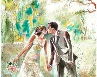 First Wedding Anniversary Gift - Custom - First Anniversary - Watercolor Painting