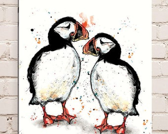 Wood Mounted Puffin Print
