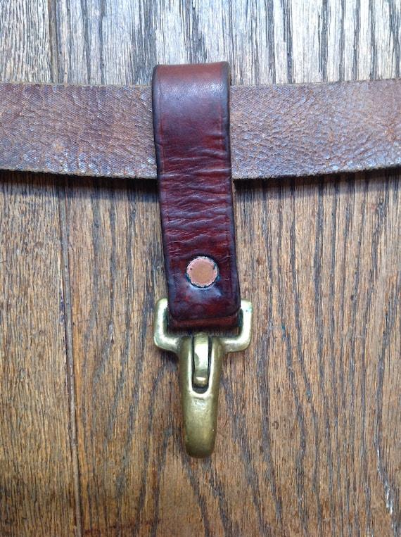 Vintage Swedish military leather metal key fob chain hook karabiner lanyard biker motorcycle rockabilly rugged sturdy riveted