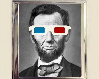 Abraham lincoln with 3d glasses cigarette case business card abraham lincoln 3d glasses cigarette case business card id holder wallet pop art surreal surrealism altered reheart Choice Image