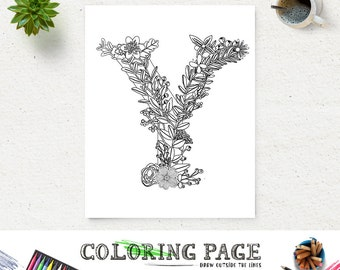Printable Floral Alphabet Coloring Page Letter Y Instant Download Digital Art Zen Pages Adult Anti Stress Therapy