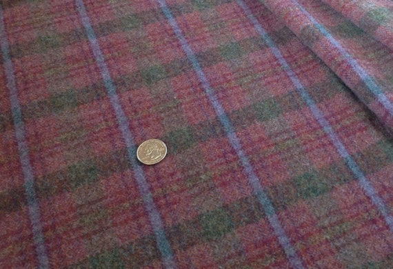 Fat 1/4 yard, Rosey Purple Plaid,  Wool Fabric for Rug Hooking and Appliqué,  W133, Purple Red, Primitive Purple, Country Purple