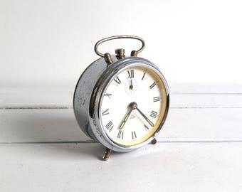 Vintage alarm clock chroom 'Growa' * silver alarm clock * vintage clocks * collectible alarm * vintage home decoration