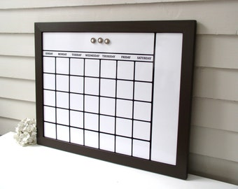 Dry Erase Calendar Organizer with Brown Handmade Solid Wood Frame 20.5 x 26.5 Magnetic Board Family Message Schedule Center - Bulletin Board