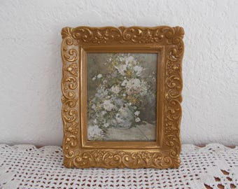 Vintage Ornate Gold Floral Framed Picture Mid Century Hollywood Regency French Country Farmhouse Shabby Chic Cottage Home Decor White Flower