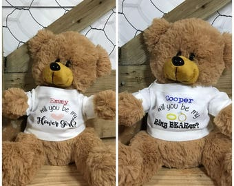 Will you be my Ring Bearer - Ring Bearer Proposal - Custom Teddy Bear