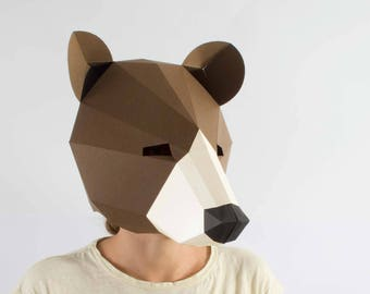 Bear mask, Digital, 3d papercraft, Masquerade mask men, 3d origami, The jungle book, Papercut, printables, animal costume, geometric.