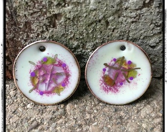 White and Raspberry Domed Circle Enamel Charms