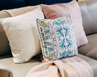 """Pillow 16""""x16""""   Blessed    Art on Pillows from original watercolor painting  Japanese Garden  Cover Only   Mother's day  GIFT"""