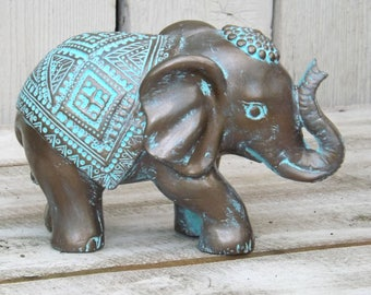 Elephant Decor~Patina ~Decorative Elephant Figurine~Elephant Sculpture~Bronze~Bohemian