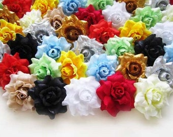 100 Mix color mini Silk Roses Heads - Artificial Silk Flower - 1.75 inches - Wholesale Lot - for Wedding Work, Make Hair clips, headbands