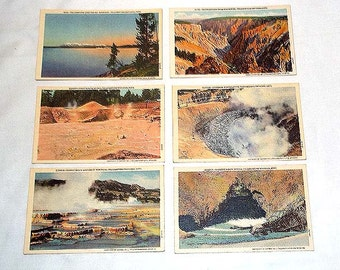 6 Vintage 1940's Linen Postcards featuring Scenes in Yellowstone National Park - Never Mailed - Suitable for Framing