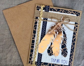 Thank You Card w/Foil Feathers and Ribbons