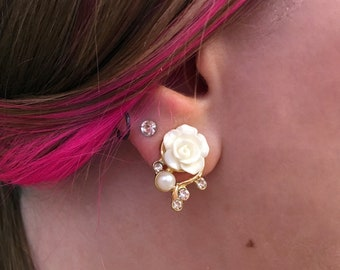 1/2 7/16 00g 0g 2g 4g 6g 8g 10g 12g 1 PAIR 15 Colors Gold Filigree Rose Dangle Plugs Gauges Tunnels Rhinestone Wedding Bridal Bridesmaid