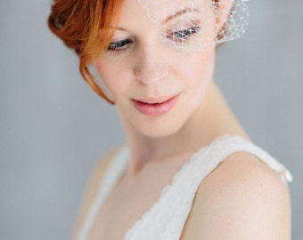 "Birdcage Wedding French Netting Headpiece - ""Josefine"""