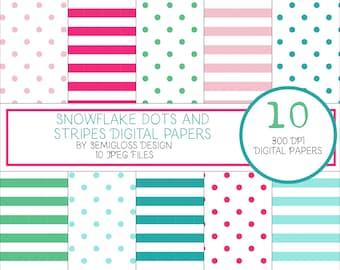 Polka dot digital paper, geometric digital paper, cute digital paper, polka dot digital, stripe digital paper, cute paper, polka dot paper
