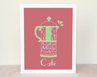 Custom Kitchen Art French Press Coffee Cafe 8x10 custom colors art print French Beverages Drinks Typographic print Brown