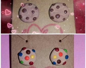 Chocolate chip cookie earrings and m&m cookie earrings.