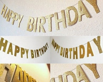 Happy birthday banner bunting in gold glitter | girls boys adults party | flags | garlands |