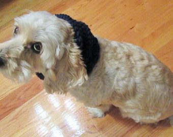 Crochet Dog Snood, Dog Accessory, Handmade Dog Scarf, Navy Dog Scarf, Dog Neck Warmer, Dog Ear Warmer, Pet Gift