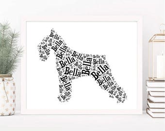 Schnauzer Personalized Art Print, YOUR DOG'S NAME, Custom Schnauzer Dog Lover Gift, Unique Dog Memorial, Pet Loss Gift, Choice of Styles