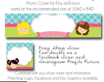 DIY Etsy Cover Photo - Add your own Text, Instant Download, Little Girls Boutique, New Cover Photo For Etsy, Made to Match Graphics