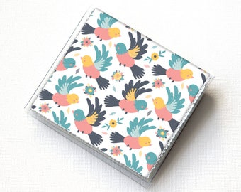 Vinyl Moo Square Card Holder - Spring Birds / bird wallet, summer wallet, vinyl, snap, mini card case, small, square card, gift, handmade
