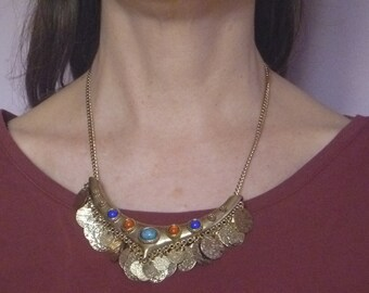 vintage beaded gold tone bib necklace