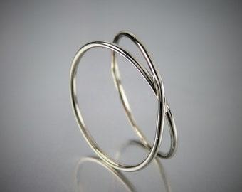 Solide 14K or blanc infini anneau, anneau d'or X 1mm, 14K or Criss Cross