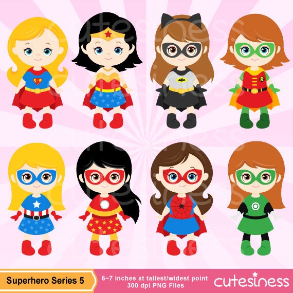 Superhero Girl Digital Clipart