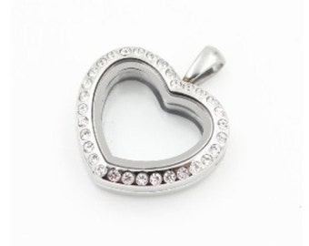 28mm - CZ Heart Stainless Steel Locket Only Glass Memory  Locket for Floating Charms