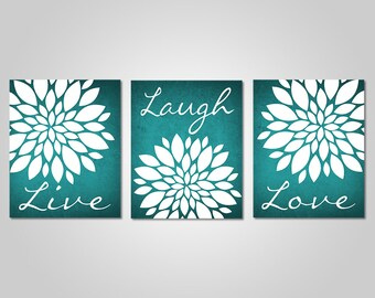 Teal Flower Wall Art   Live Laugh Love   Bedroom Dandelion Art   Teal Decor    Teal Wall Art   DIY Printable Wall Art   Teal Wall Decor